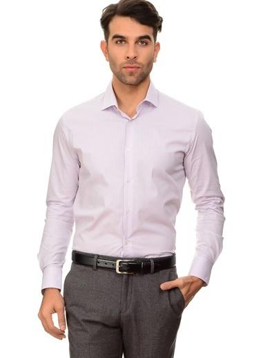 Cotton Bar Uzun Kollu Desenli Gömlek Mor